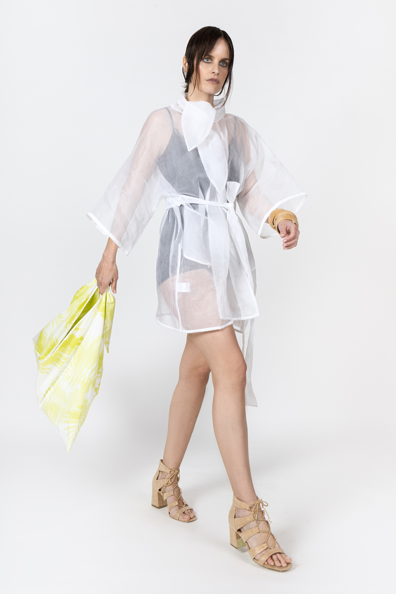 cotton organza wrap dress