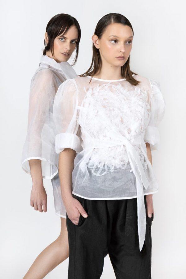 white organza top