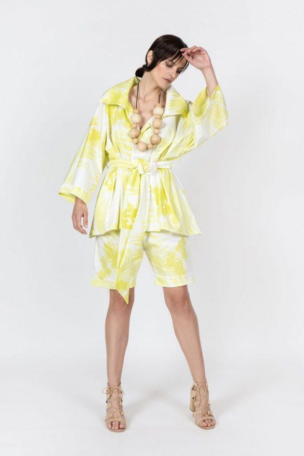 yellow print kimono