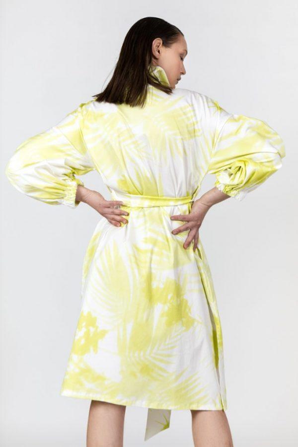 yellow print shirtdress